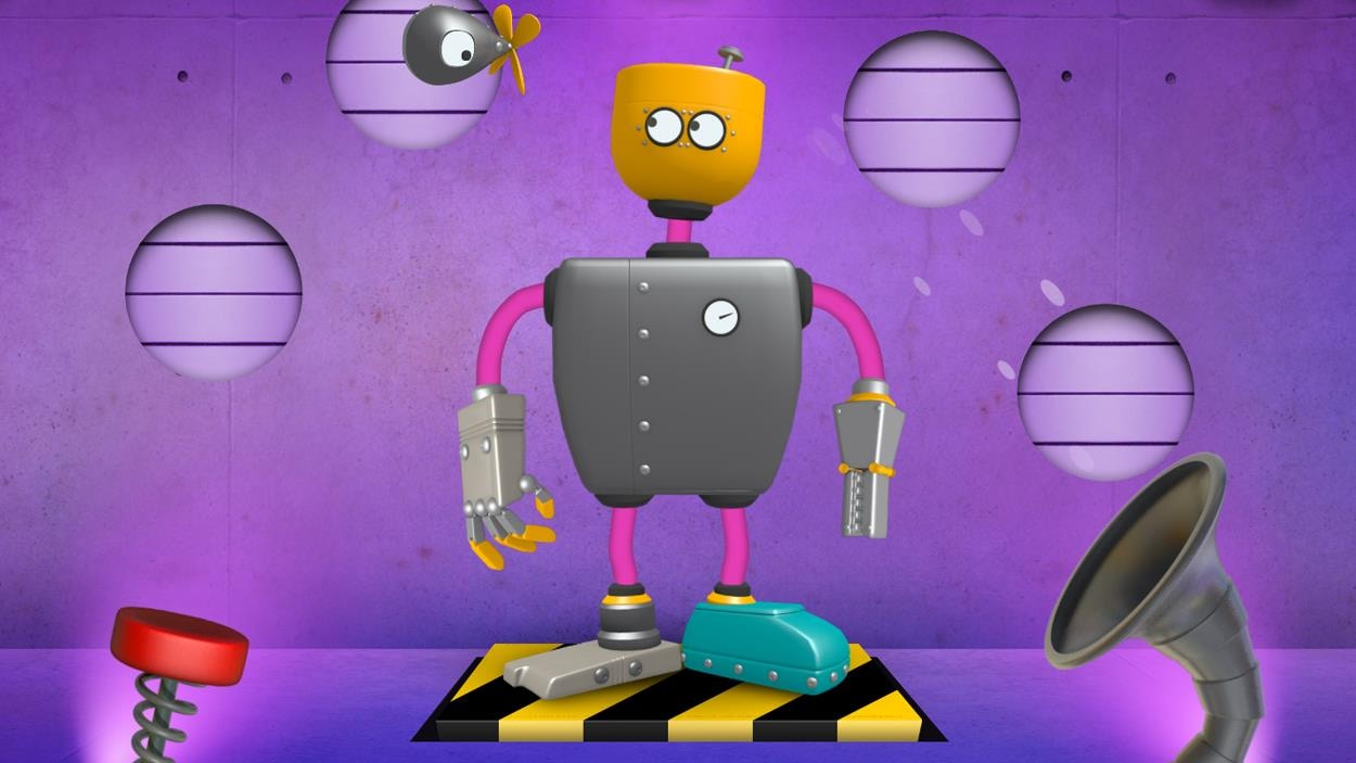 Un robot coloré et joyeux entouré de vis