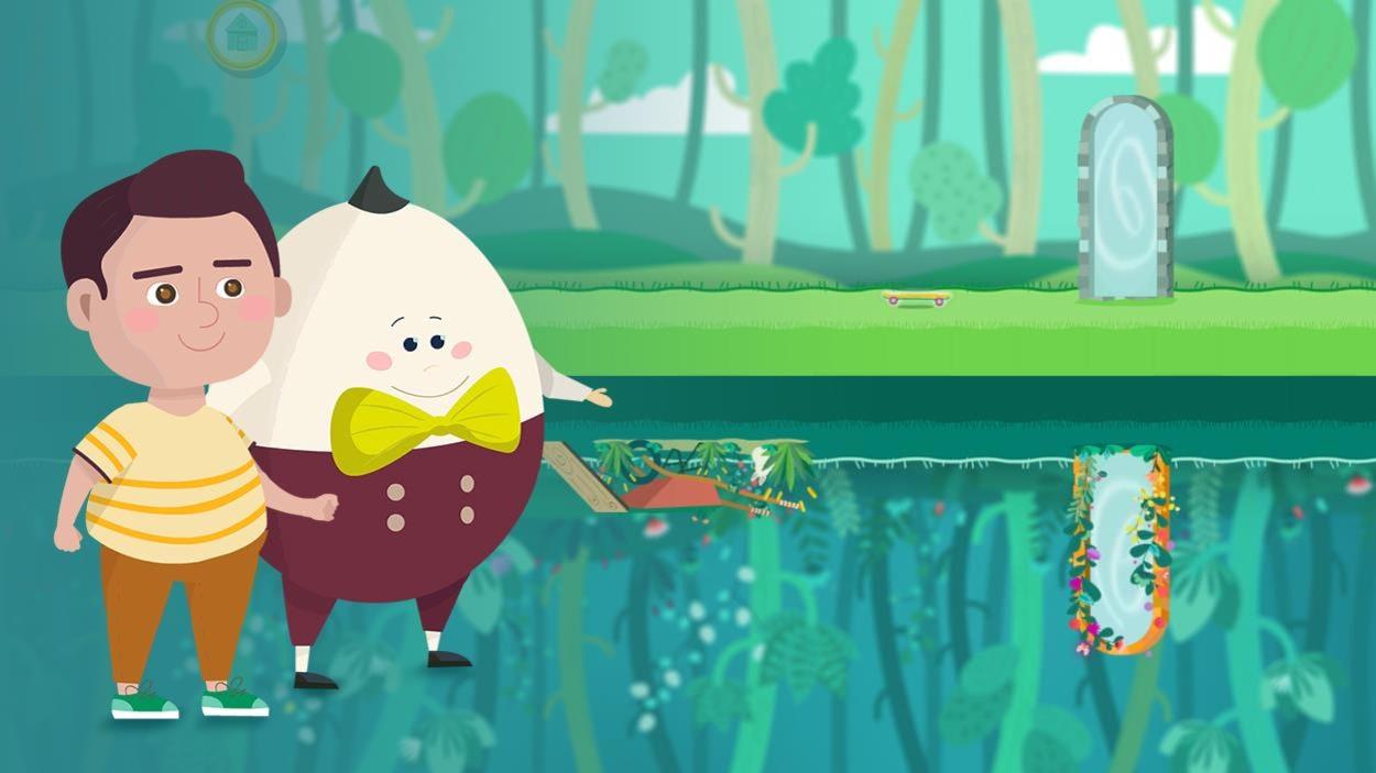 Les 2 personnages sourient en marchant sur le lac