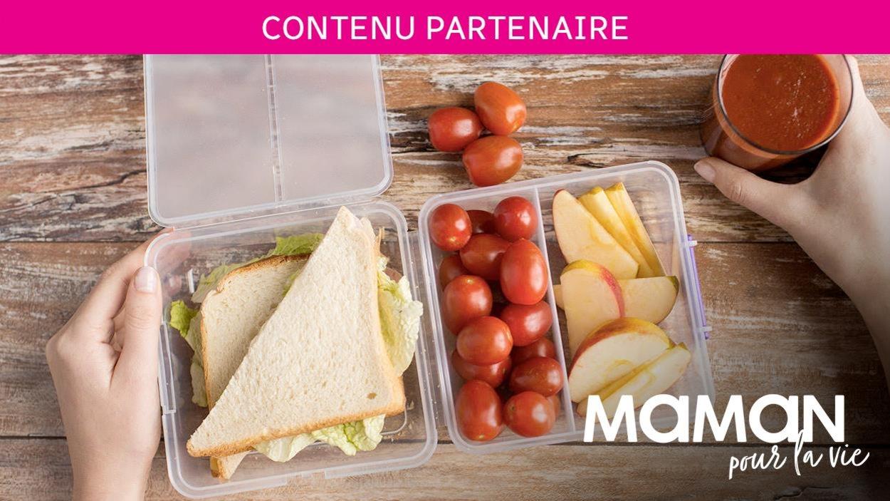 Sandwich, tomates et pommes