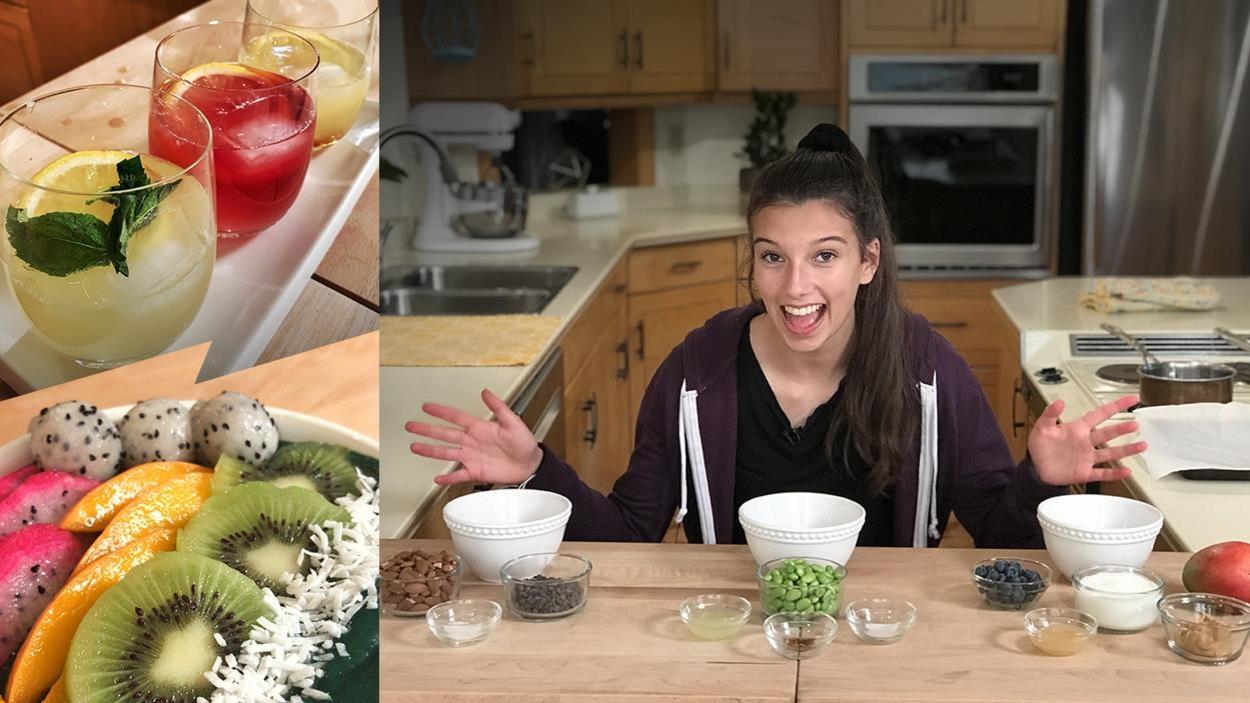 Elle sourit devant des coupelles de fruits, d'amandes et de fèves edamame. Elle va cuisiner pour B-TV de l'émission Oniva.