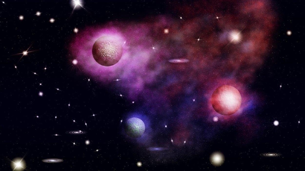 Image de l'espace avec trois planètes roses et plusieurs étoiles lumineuses.