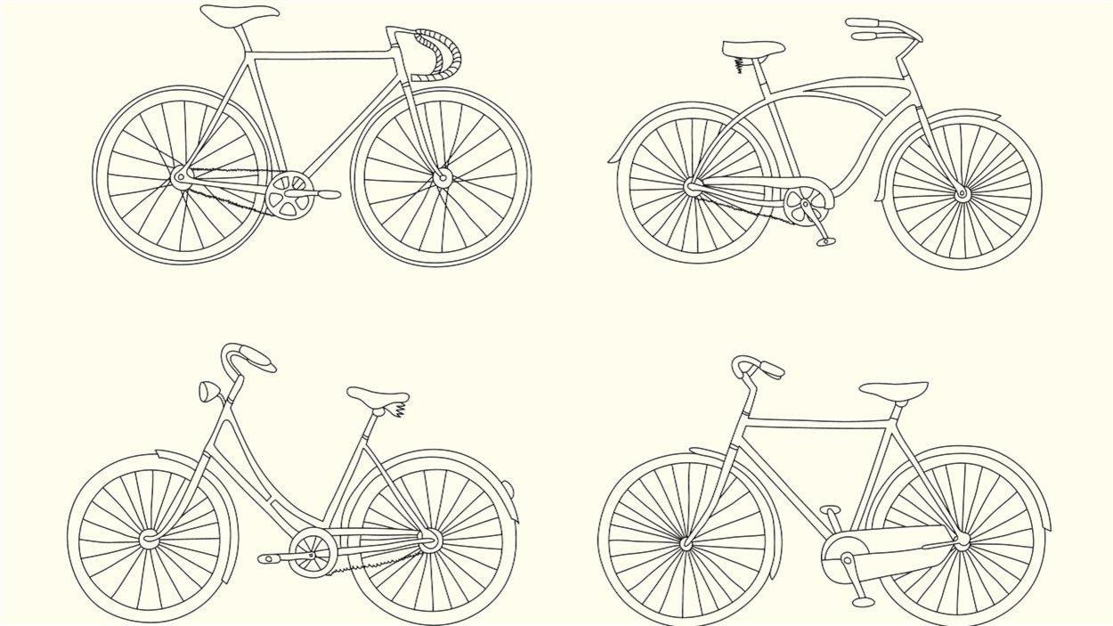 Quatre illustrations de différents vélos