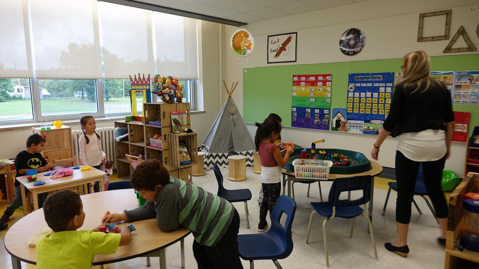 La classe de maternelle de l'école Des Quatre-Vents à Chicoutimi-Nord.