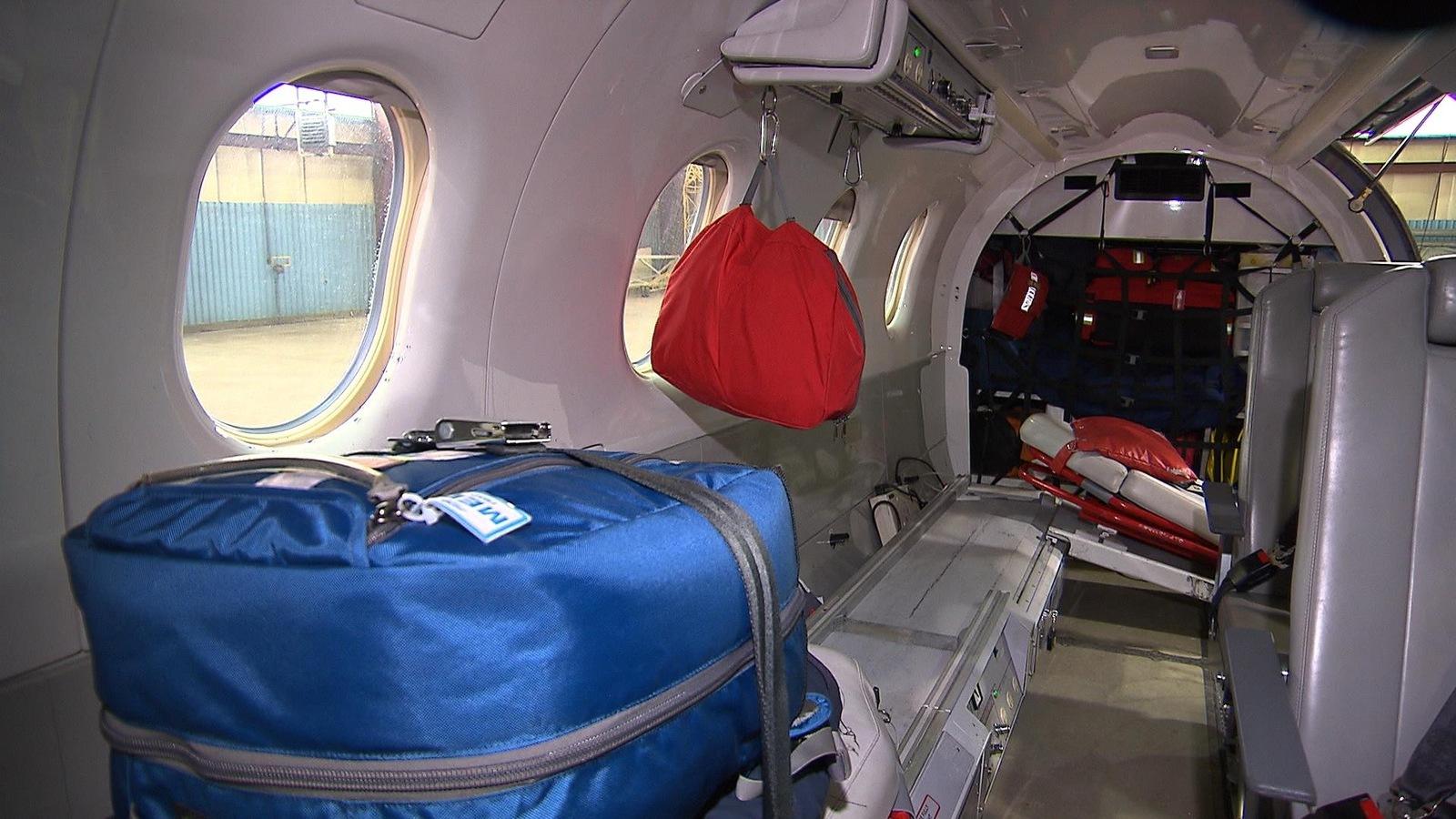 L'intérieur de l'avion d'Airmédic basé à Sept-Îles