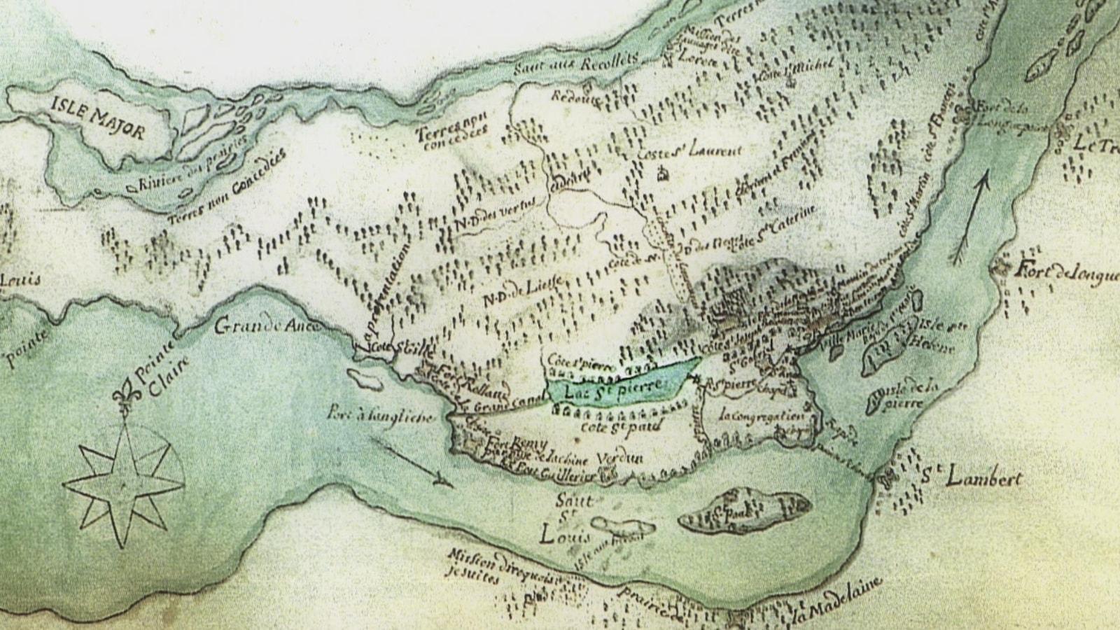 Carte des Sulpiciens des années 1700, représentant l'île de Montréal