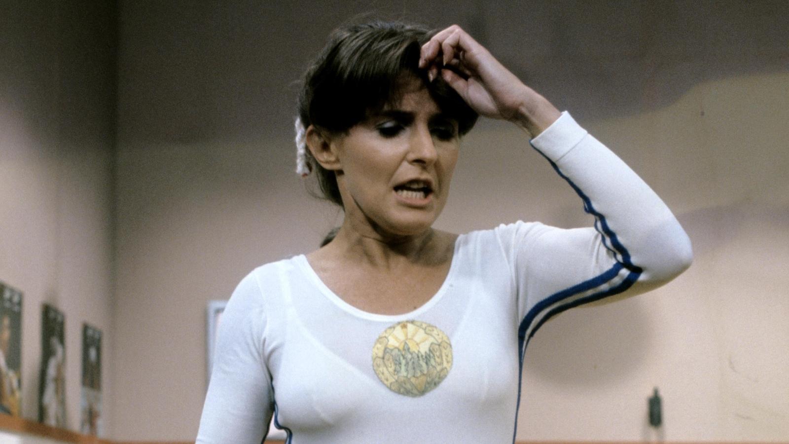 Dominique Michel déguisée en gymnaste.