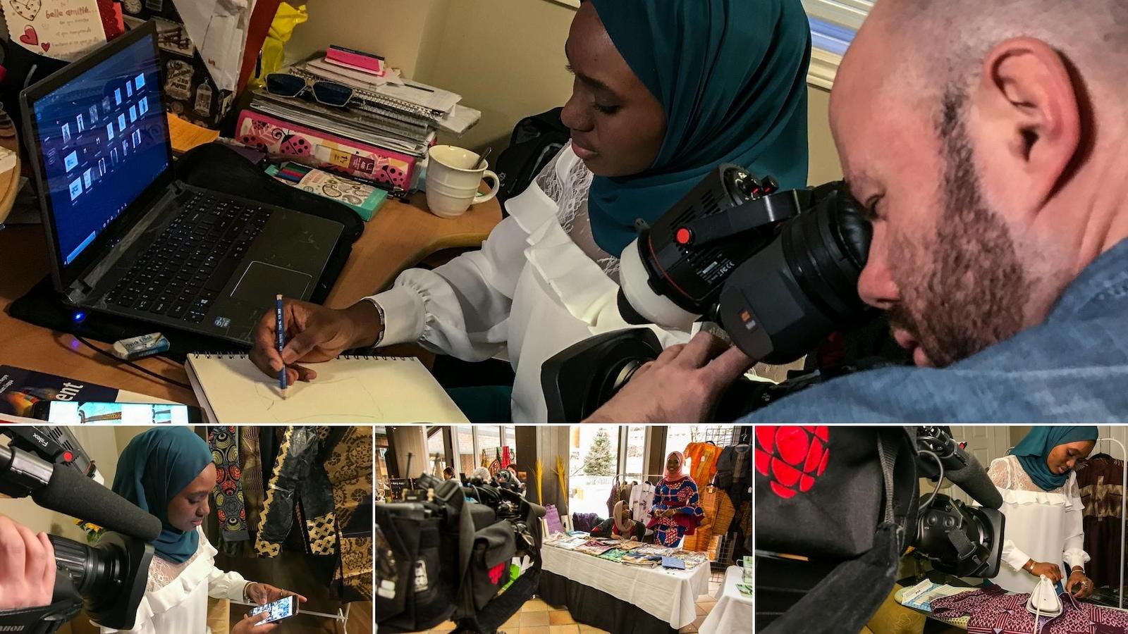 Un montage photo montrant Gaye Abdoul Sy devant un ordinateur, en train d'utiliser son téléphone intelligent, debout à un kiosque et en train de repasser.