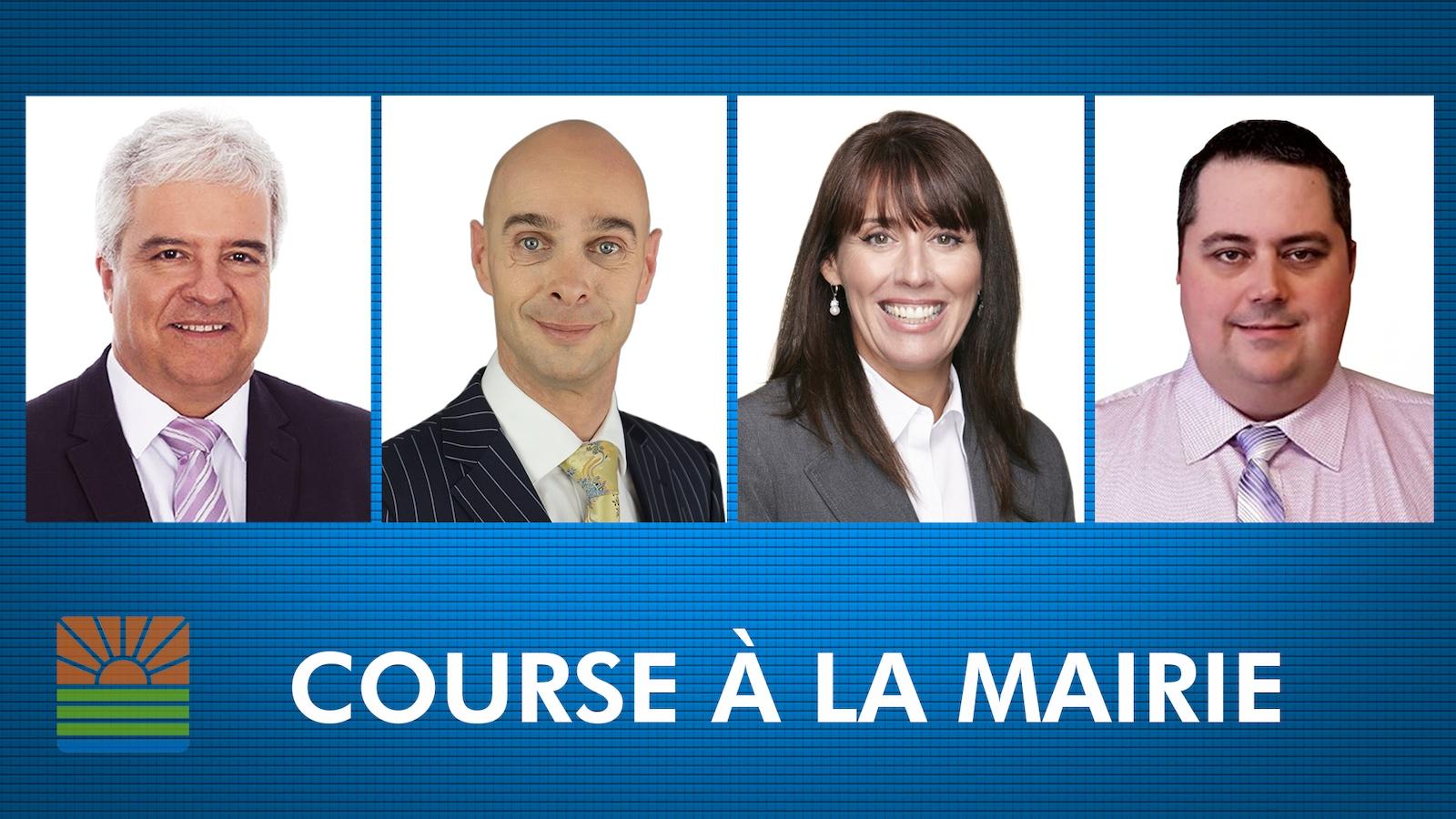 De gauche à droite, Pierre Chassé, Djanick Michaud, Chantal Pilon et Frédéric Rioux, les quatre candidats déclarés à la mairie de Rimouski en vue des élections municipales de novembre 2017