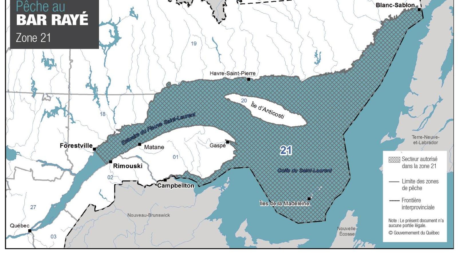 Carte géographique de l'est du Québec.