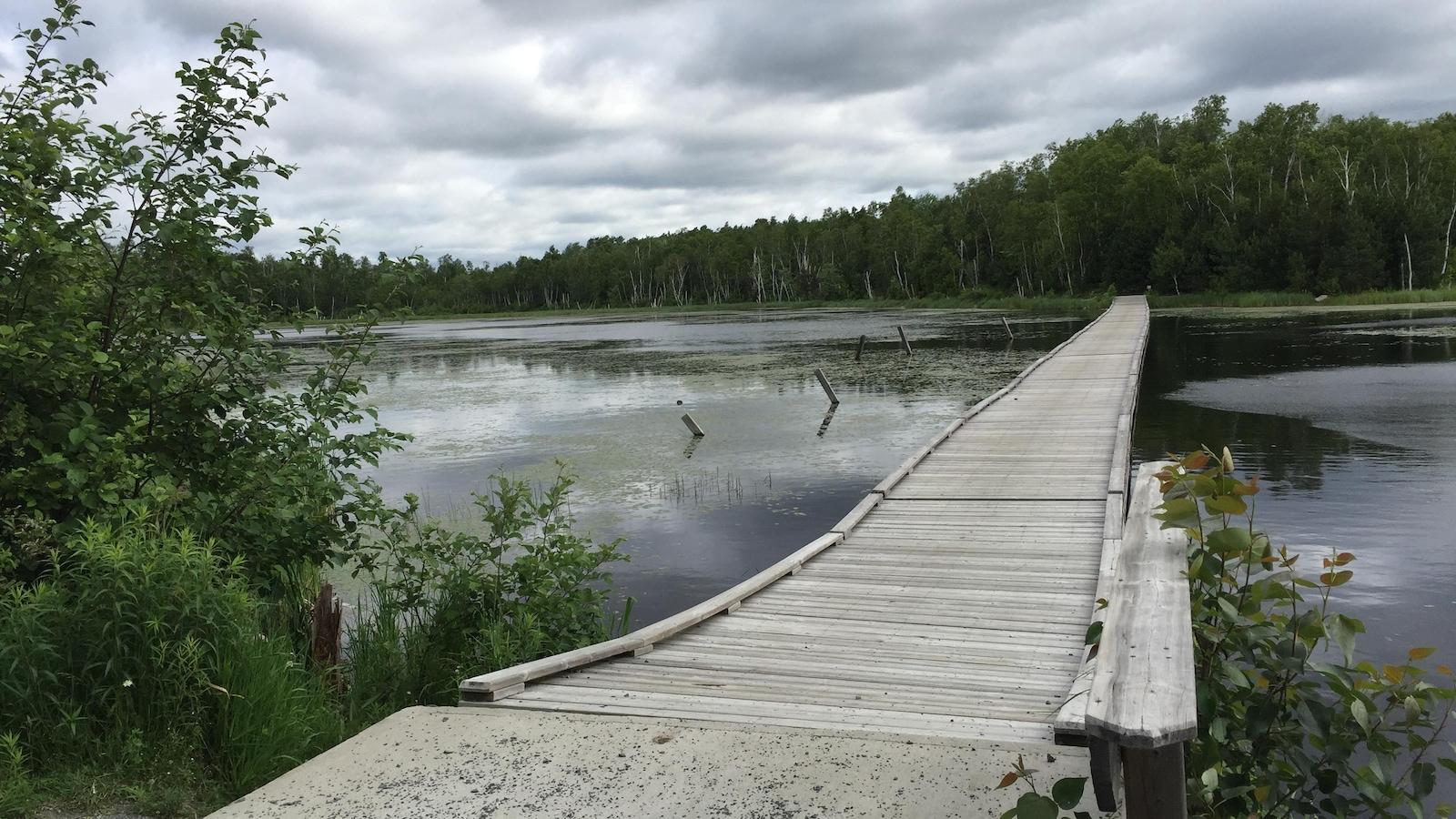 Le pont enjambe un lac