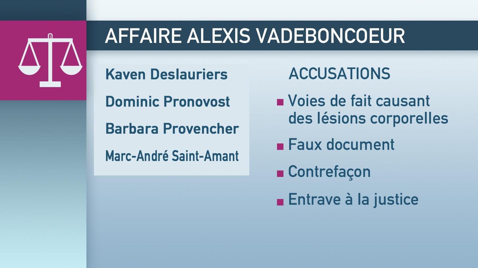Les quatre policiers visés par l'affaire Vadeboncoeur font face à plusieurs chefs d'accusation.