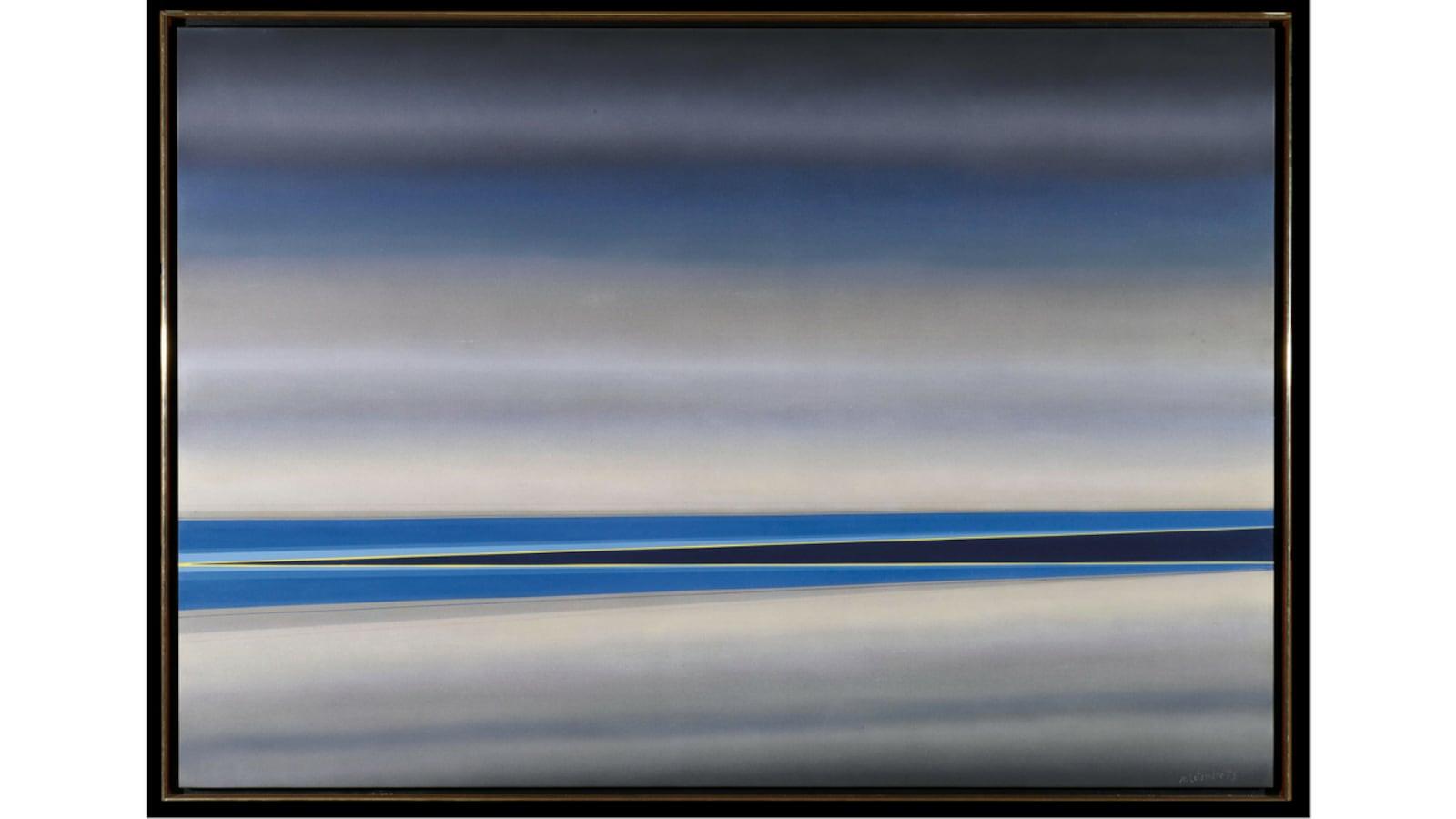 Tableau dans les teintes de gris et de bleu