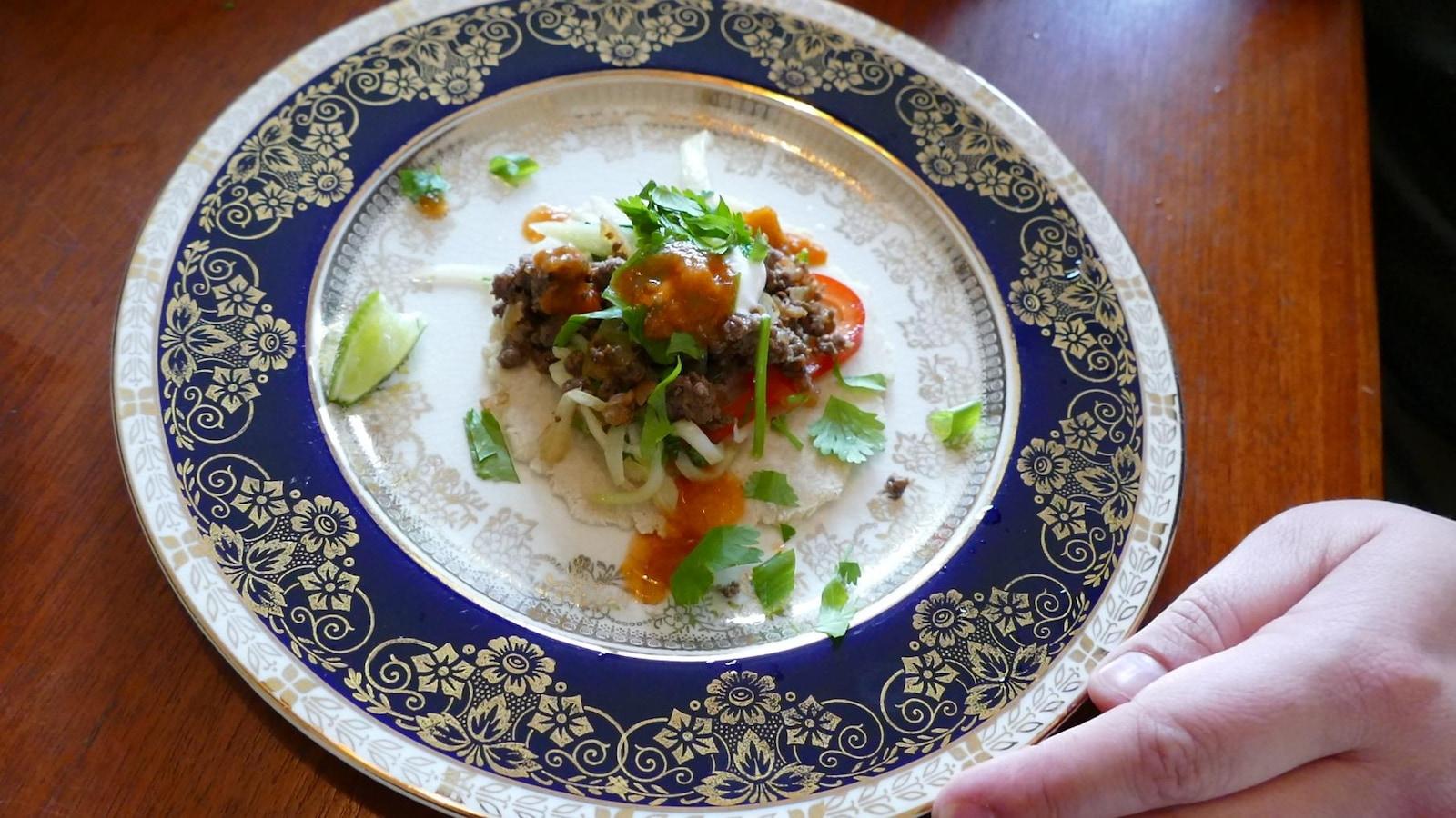 Assiette de tacos à l'orignal et à la chayote