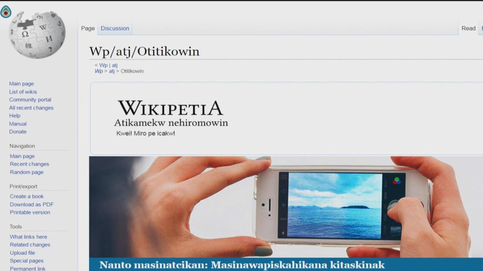 La page d'accueil du site Wikipetia.