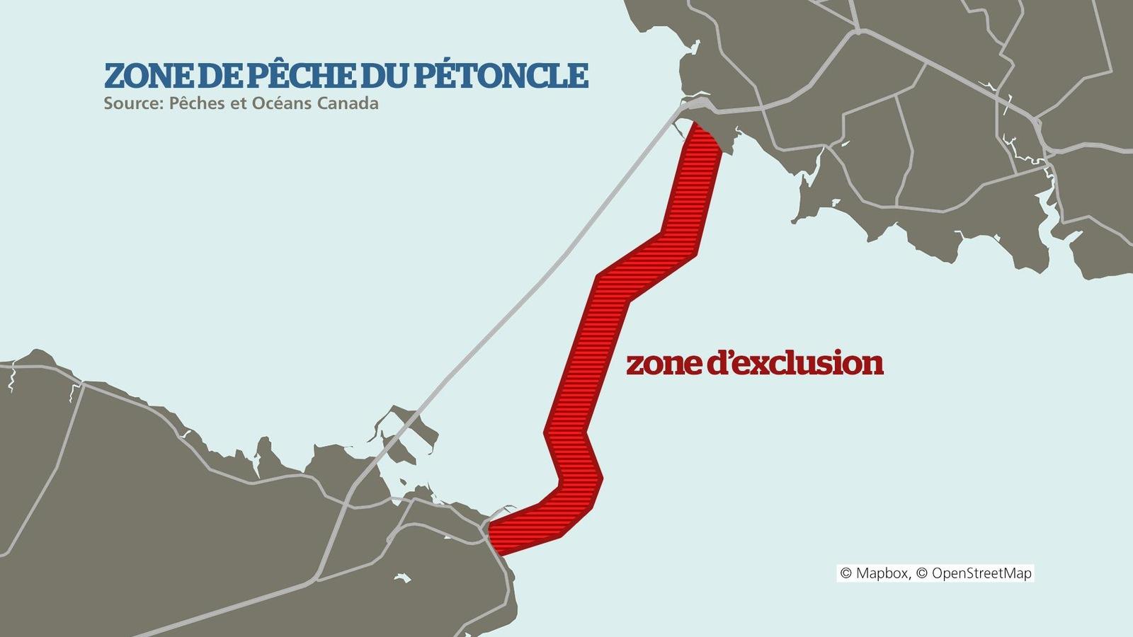 La zone d'exclusion relie le Nouveau-Brunswick à l'Île-du-Prince-Édouard, dans la zone de pêche 22.