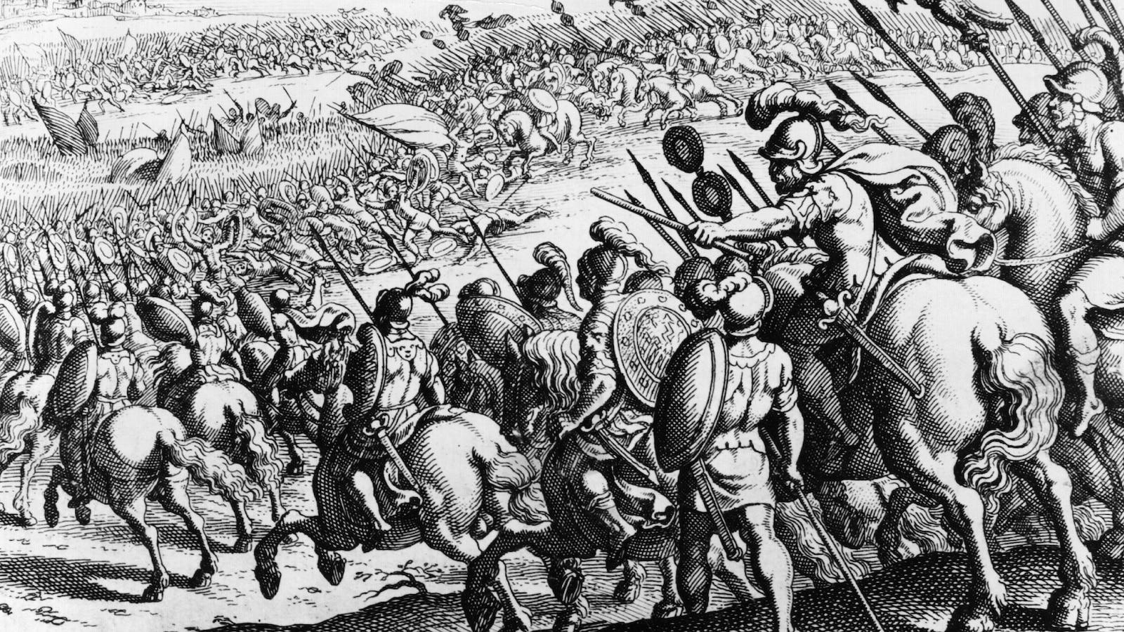 Gravure représentant la victoire des troupes d'Alexandre le Grand contre les Perses dans le Granique, en 334 av. J.-C.