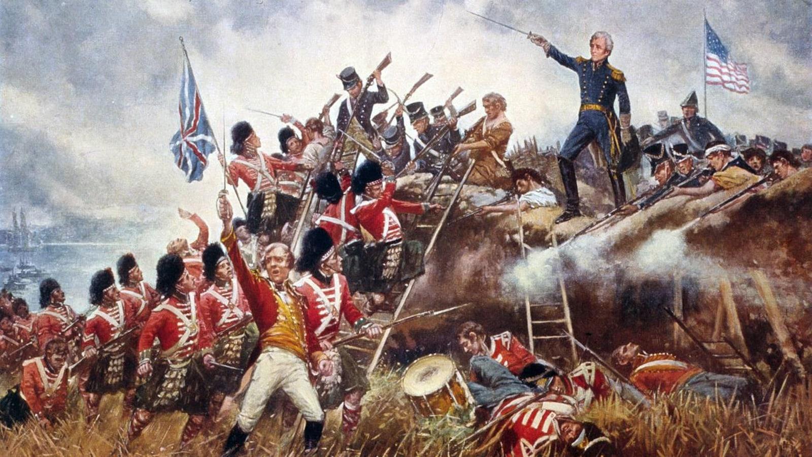 Une toile représente une bataille entre soldats anglais et américains. Un homme pointe une épée devant lui.