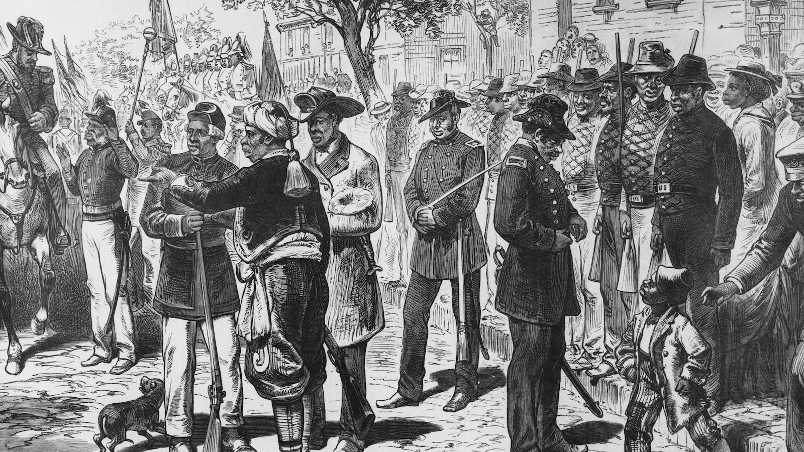 Gravure en noir et blanc dépeignant d'anciens esclaves qui célèbrent la proclamation de l'émancipation, le 1er août 1866.