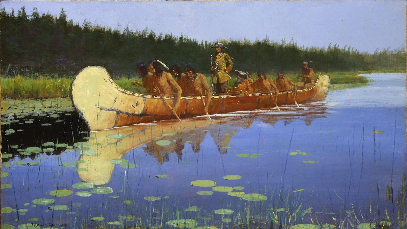 Pierre-Esprit Radisson accompagné d'Autochtones dans un canot lors d'une expédition dans les Grands Lacs.