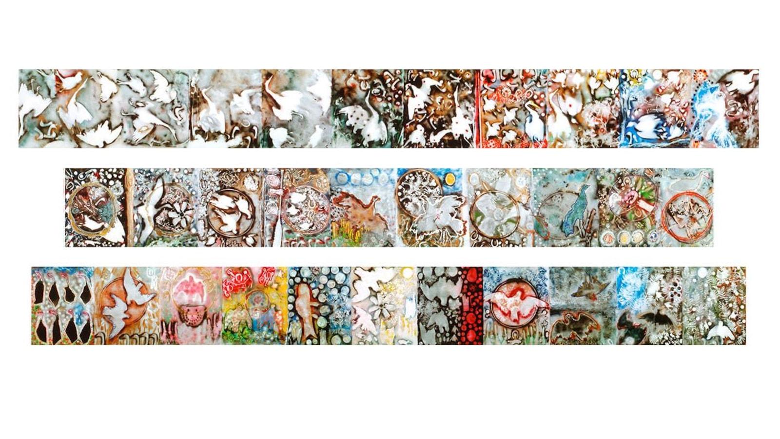 Une immense fresque colorée réalisée à l'aide de bombes aérosol, sui se présente comme une succession de tableaux animaliers, habités par des objets courants représentés le plus souvent en silhouette, privilégiant des effets atmosphériques au gré d'une mécanique céleste.