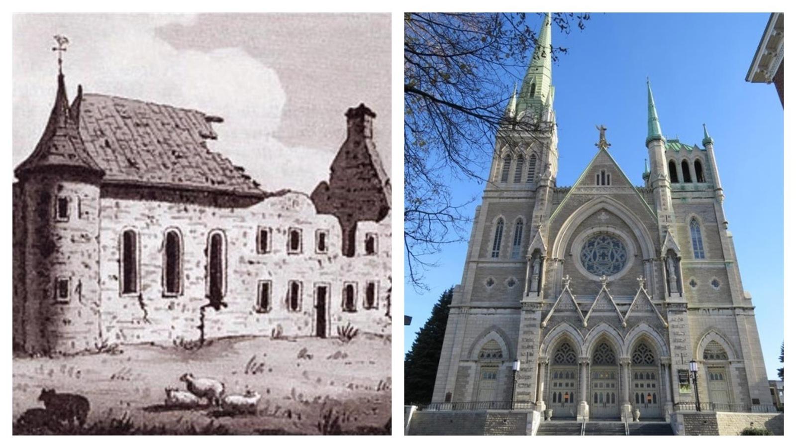 Montage montrant une illustration en noir et blanc d'un château en ruines à gauche et la photo de la façade d'une église à droite.