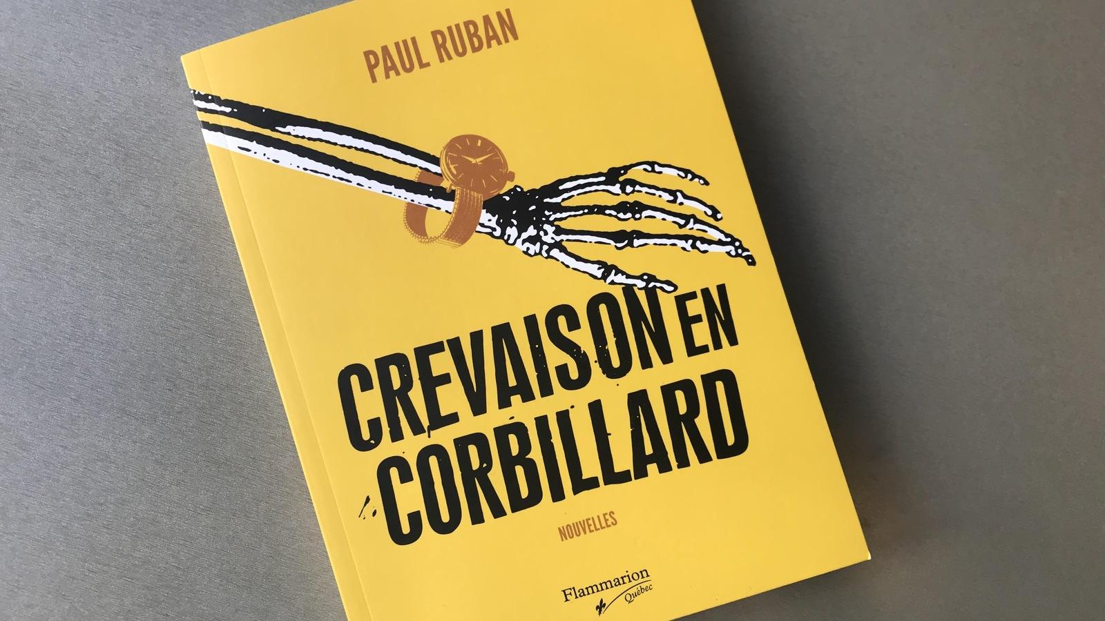Couverture jaune ornée d'un bras de squelette du recueil de nouvelles Crevaison en Corbillard de l'auteur franco-ontarien Paul Ruban