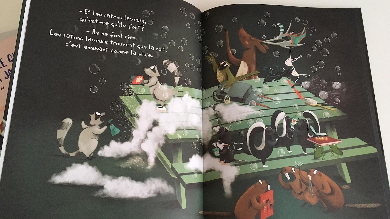 On voit l'intérieur d'un livre avec des illustrations de différents animaux sauvages. Un raton laveur, des marmottes et un hibou.