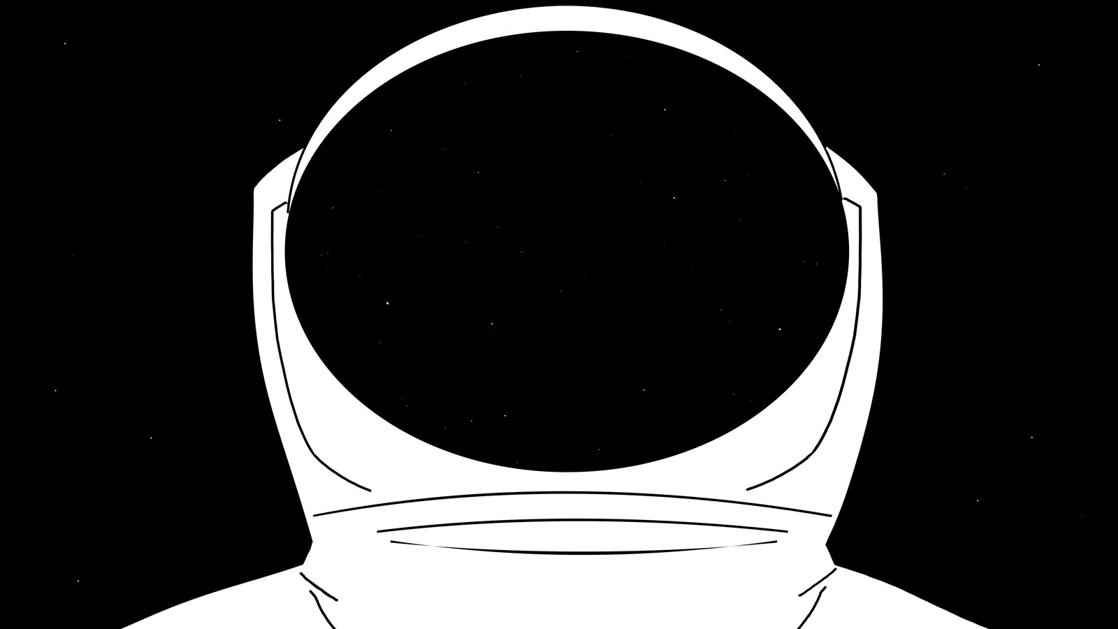 L'image dessinée d'une tenue de cosmonaute blanche sur fond noir.
