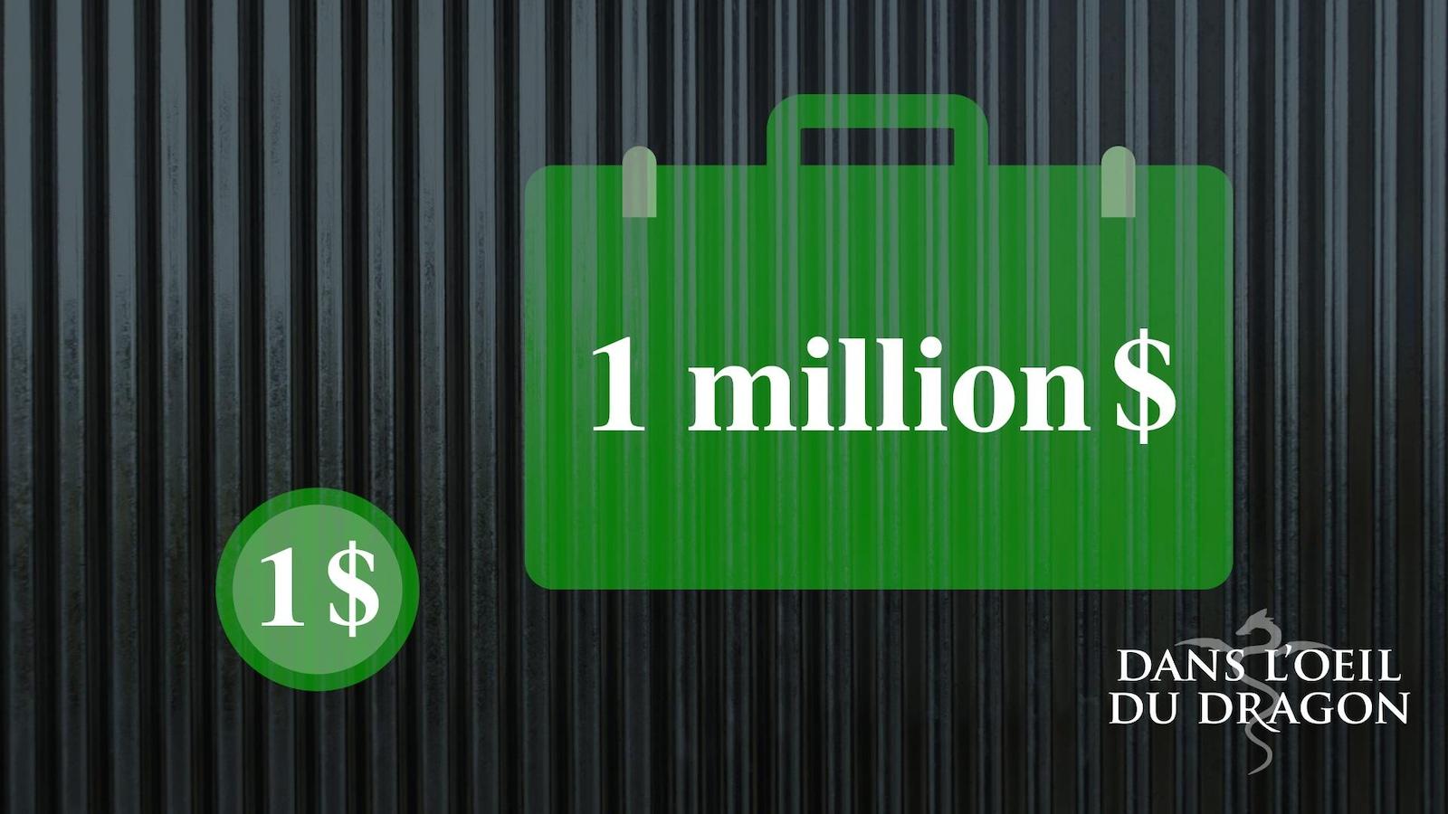 Graphique illustrant une pièce de 1 dollars et une valise de 1 million.
