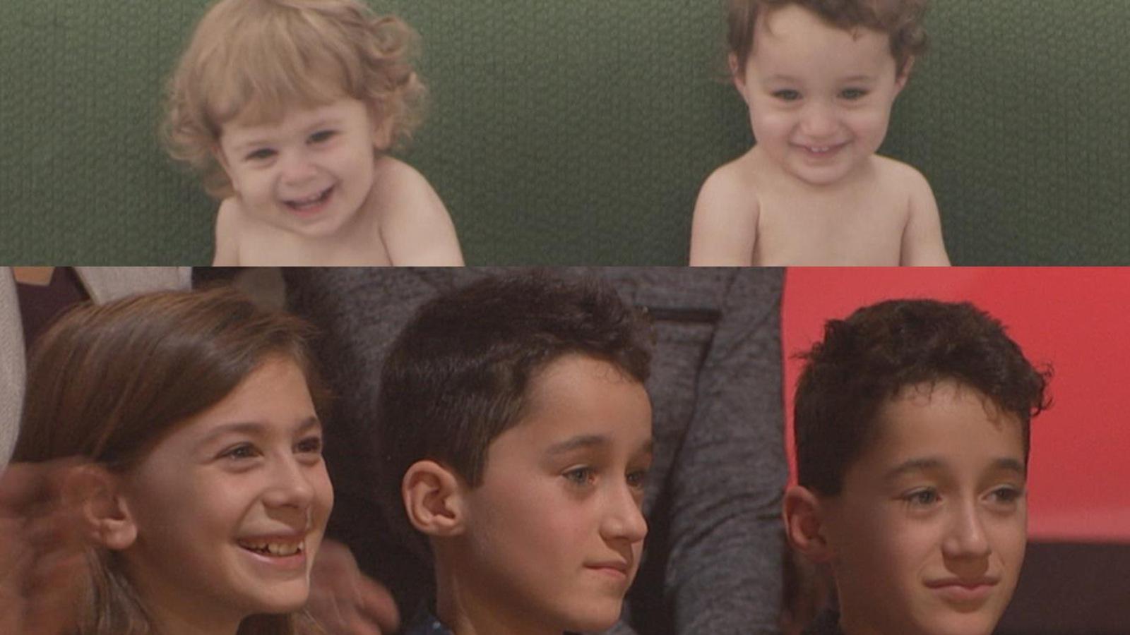 Les deux jumeaux qui personnifient Antoine et la jeune fille qui fait le rôle de Véronique Cloutier.