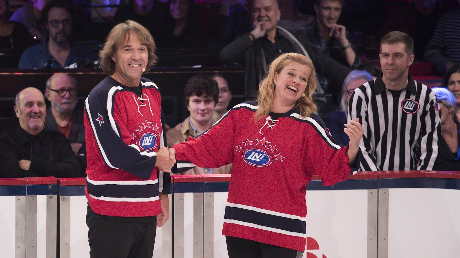 Les deux comédiens sur le glace