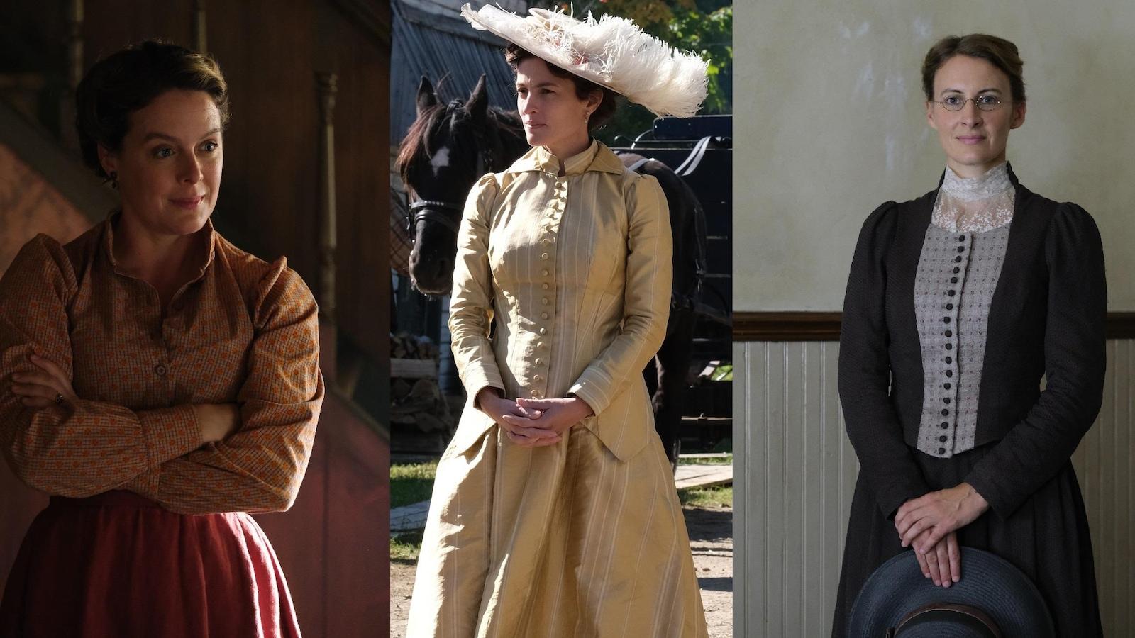 Trois femmes en costumes d'époque.