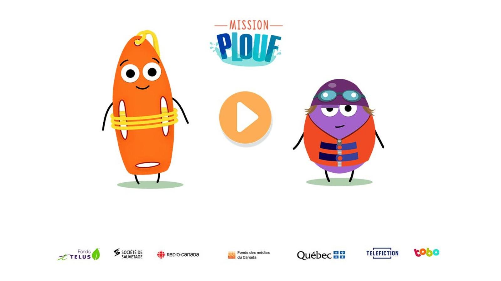 La page d'accueil de la plateforme interactive Mission Plouf représente une bouée de sauvetage ainsi qu'un bonhomme mauve muni d'une veste de sécurité aquatique.