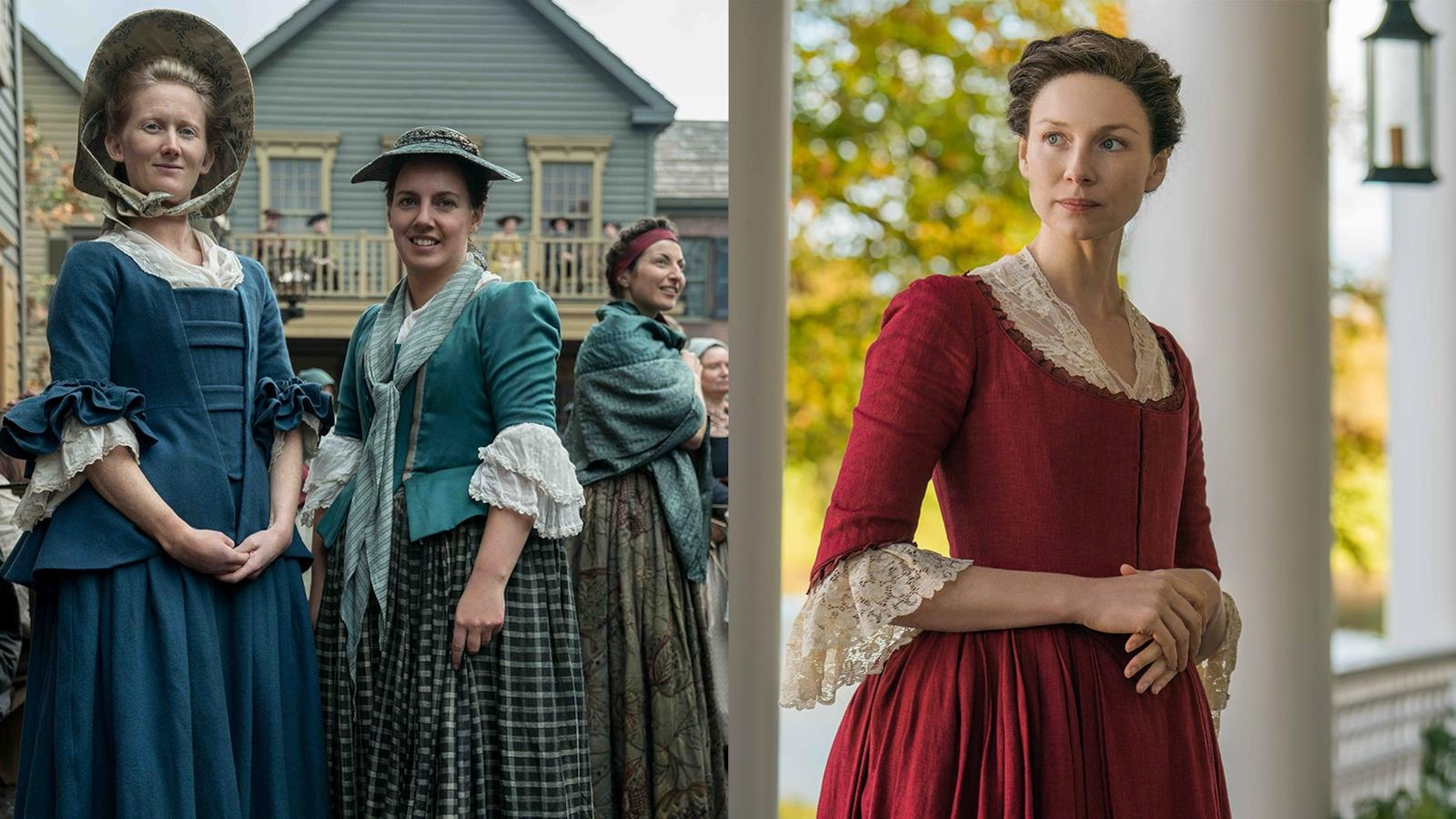 Un montage. Sur une photo, on voit deux femmes bourgeoises. Sur une autre, Claire Randall.