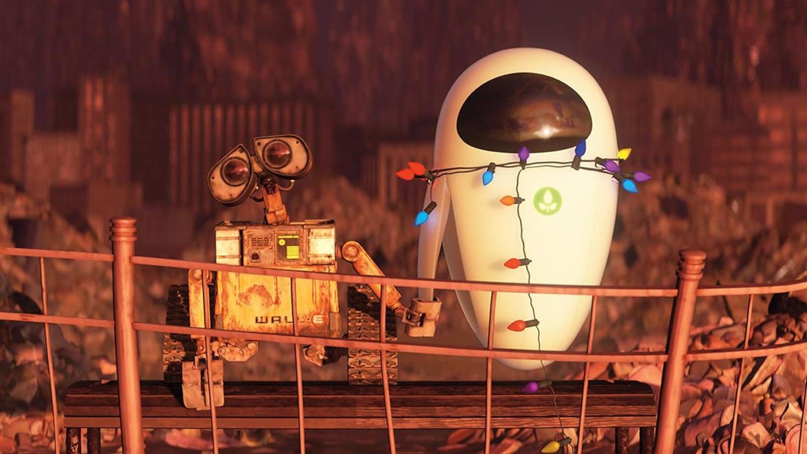 Wall-E et Eve se tiennent la main