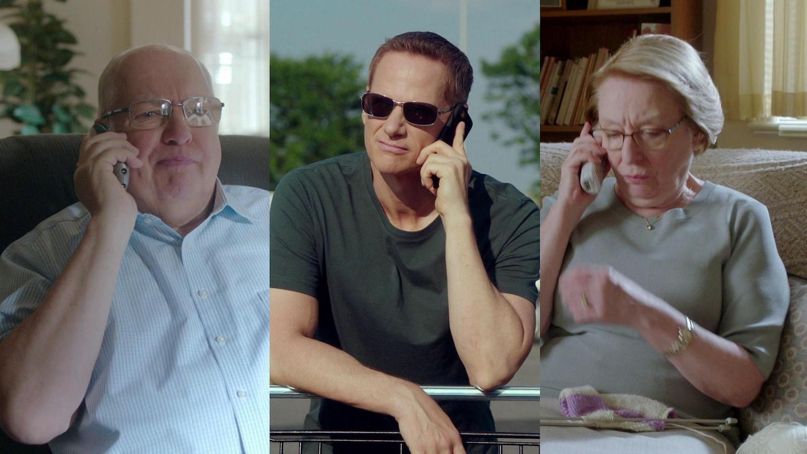 Le personnage principal et ses parents téléphonent.