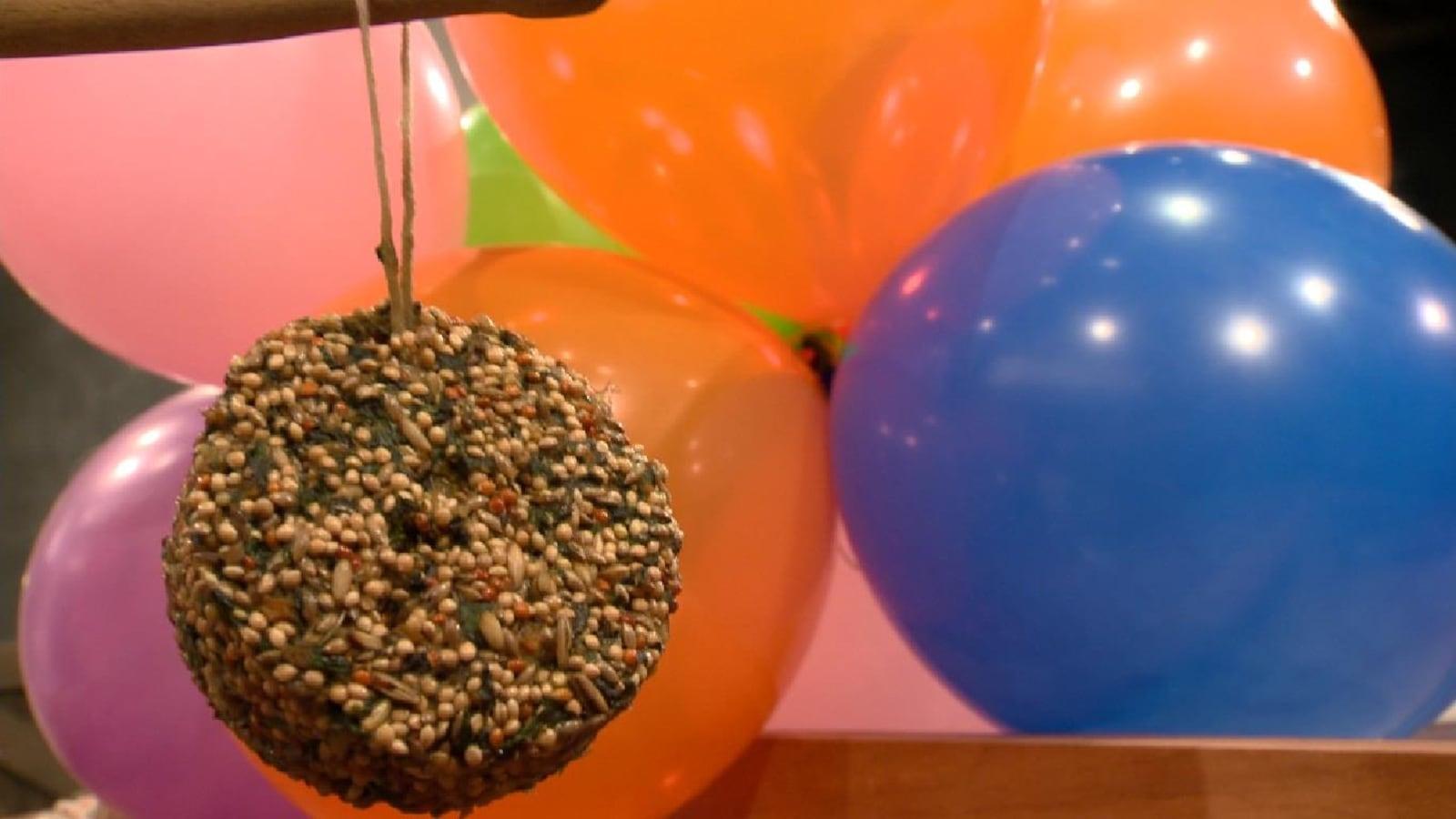 Entouré de ballons décoratifs