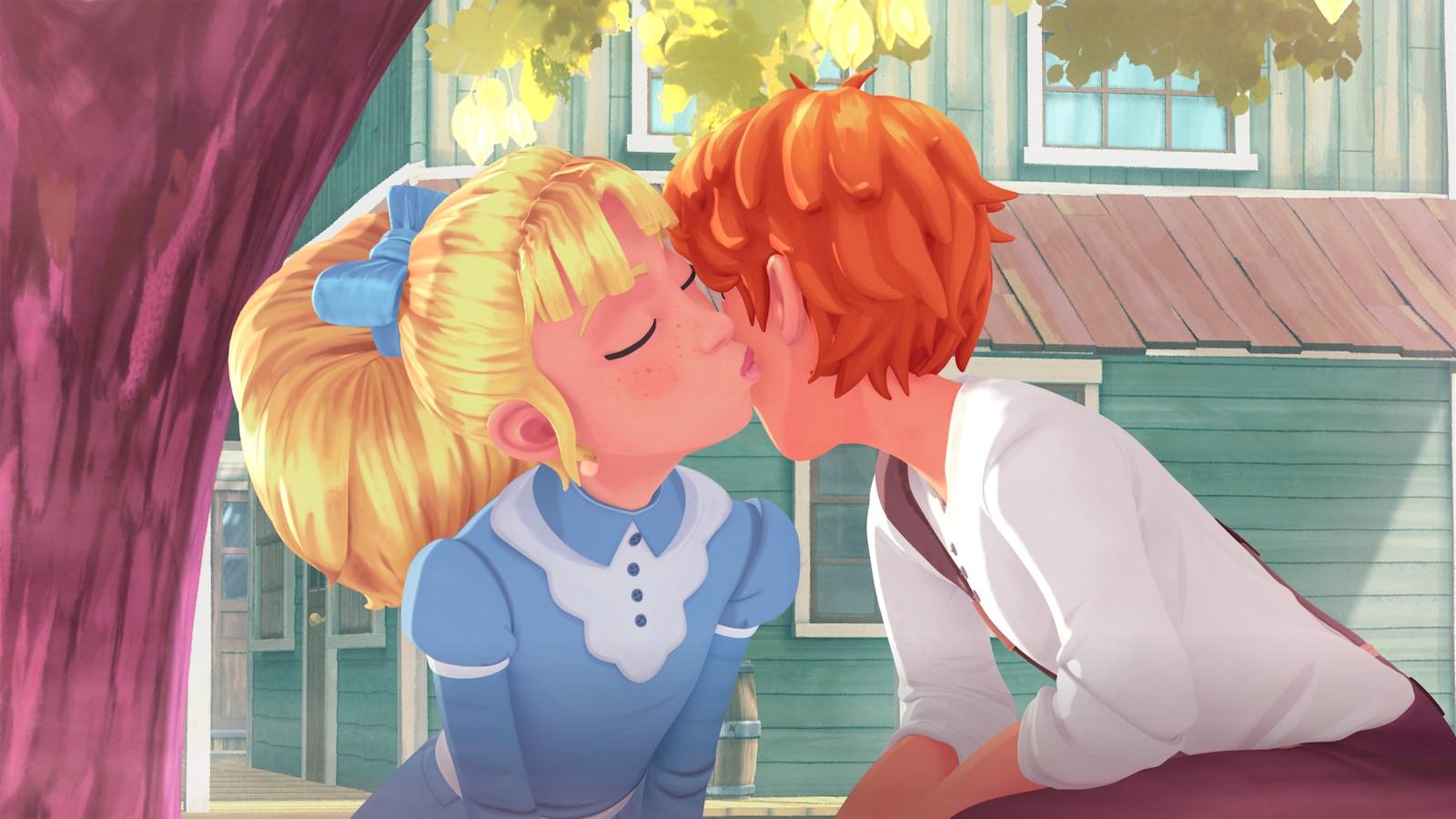 La jeune fille fait un bisou sur la joue à son amoureux