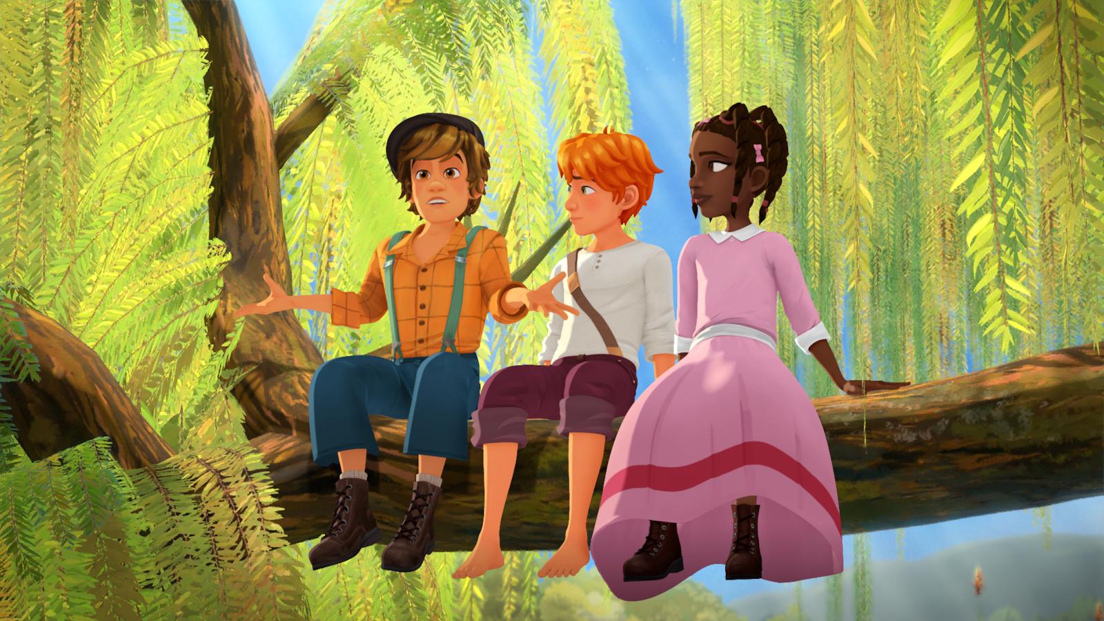 Les trois amis sont assis sur un tronc d'arbre