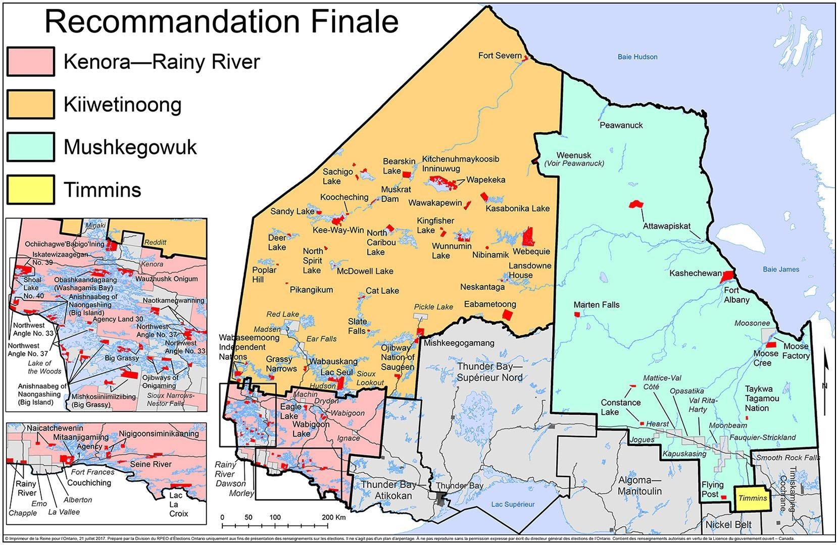 Une carte géographique indique la division des circonscriptions existantes.