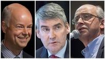 Les principaux chefs de parti en N.-É. : Jamie Baillie du Parti progressiste-conservateur à gauche, Stephen McNeil du Parti libéral au centre et Gary Burrill du NPD à droite.