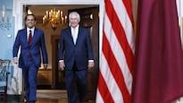 Le ministre des Affaires étrangères du Qatar, Mohammed ben Abderrahmane Al-Thani, et le secrétaire d'État américain, Rex Tillerson à Washington.