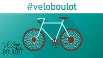 Un dessin de vélo sur un fond bleu turquoise.