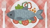 L'infographie montre une carpe dans une assiette, entourée de légumes.
