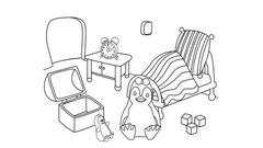 Coloriage Ozie Boo - La chambre de Nelly