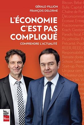 Un livre orange montrant Gérald Fillion et François Delorme portant veston et cravate.