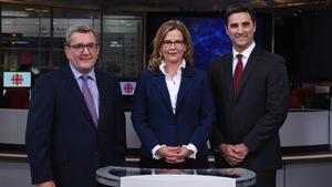 Débat sur le plateau du Téléjournal Québec  entre les candidats à la mairie Régis Labeaume, Anne Guérette et Jean-François Gosselin