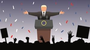 Illustration d'un politicien qui prononce un discours devant ses partisans.