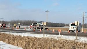 Un des deux véhicules impliqués dans l'accident de la route près de Fort Saskatchewan