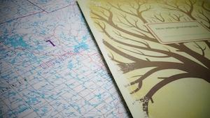 Une carte de l'Outaouais et un arbre généalogique à compléter de la BAnQ.